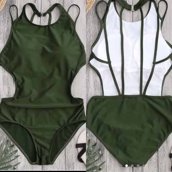 Zaful Other - Army Green Swimsuit- Padded, Strappy back *ZAFUL*